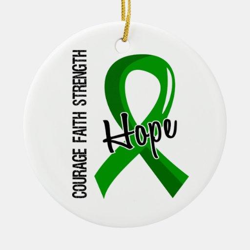 Salud mental de la esperanza 5 de la fe del valor ornamento de navidad