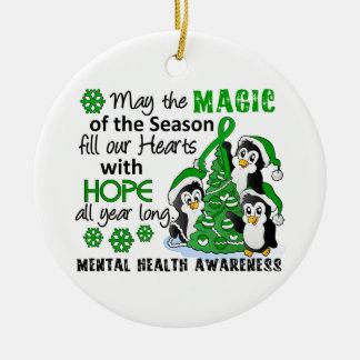Salud mental de los pingüinos del navidad adorno navideño redondo de cerámica