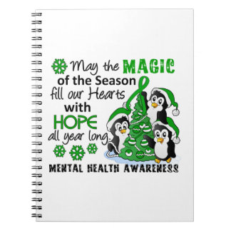 Salud mental de los pingüinos del navidad libretas espirales