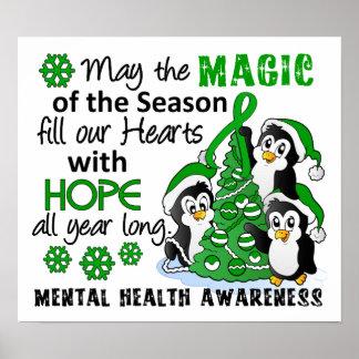 Salud mental de los pingüinos del navidad póster