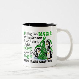 Salud mental de los pingüinos del navidad tazas de café