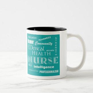 Salud mental Enfermera-Brown+Azul Taza