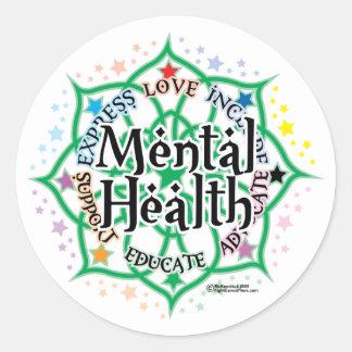 Salud mental Lotus Pegatinas Redondas
