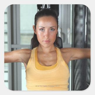 Salud, trabajo del gimnasio y aptitud pegatina cuadrada
