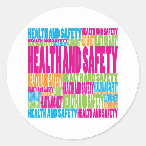 Salud y seguridad coloridas pegatina redonda