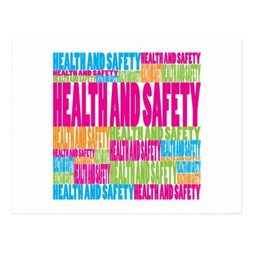 Salud y seguridad coloridas postales