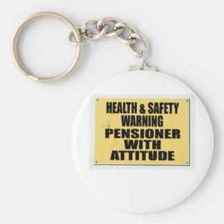 Salud y seguridad idas enojadas, pensionista con A Llavero Redondo Tipo Pin
