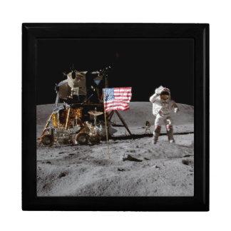 Saludar la bandera de los E E U U en la luna Cajas De Regalo
