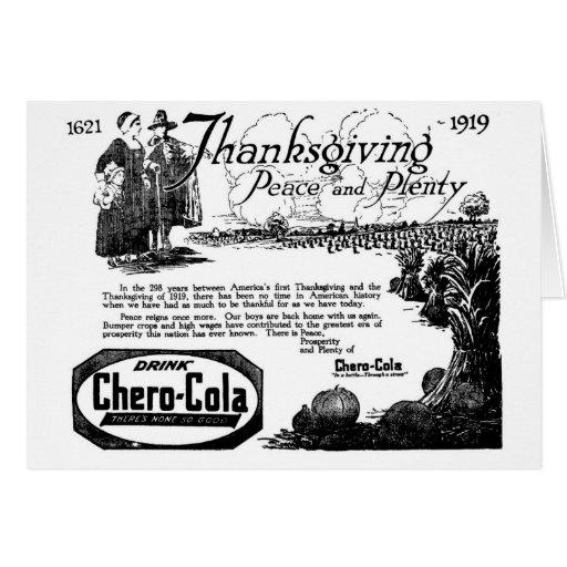 Saludo 1919 de la Chero-Cola de la acción de graci Tarjeta De Felicitación