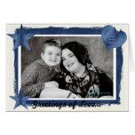 Saludo adaptable de la foto del marco azul decorat tarjeton