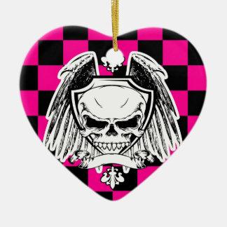 Saludo al arrastramiento adorno navideño de cerámica en forma de corazón