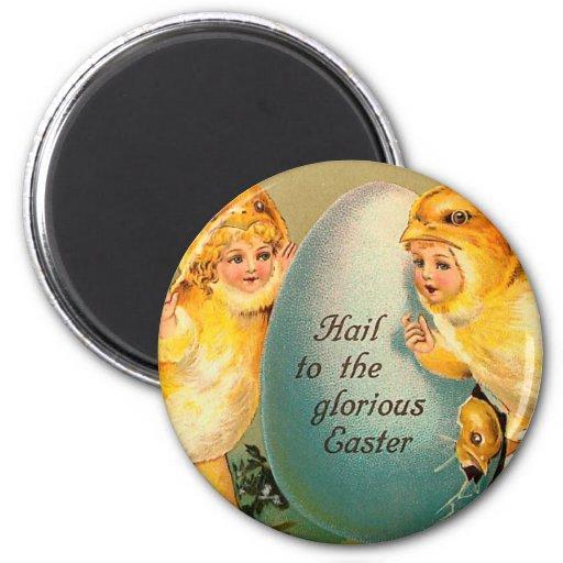 Saludo al vintage glorioso de Pascua Imán Para Frigorifico