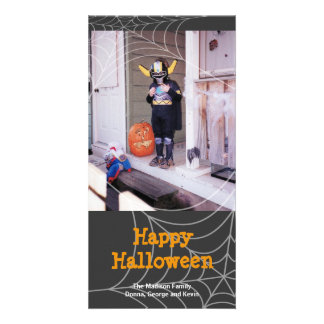 Saludo anaranjado de Halloween de araña del negro  Tarjeta Fotográfica