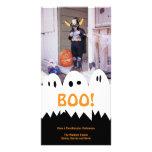 Saludo anaranjado de Halloween del trío blanco del Tarjeta Fotografica Personalizada