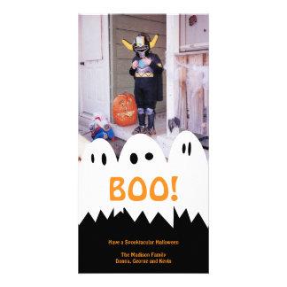 Saludo anaranjado de Halloween del trío blanco del Tarjeta Personal Con Foto