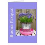 Saludo azul común de pascua de los hyacints - tarjeta de felicitación