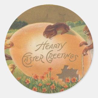 Saludo caluroso 1910 de Pascua del vintage Pegatina Redonda