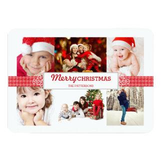 """Saludo clásico de la foto de las Felices Navidad Invitación 5"""" X 7"""""""