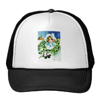 saludo con un chica y hojas santas alrededor de el gorras de camionero