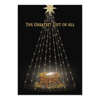 """Saludo cristiano del pesebre del navidad invitación 5"""" x 7"""""""