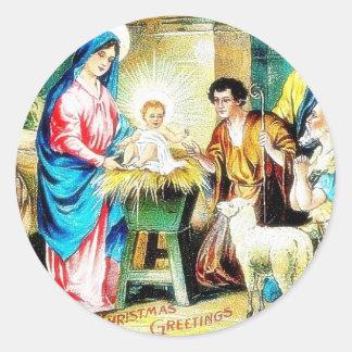 Saludo de Chrsitmas con Maria, José, Jesús en un s Etiquetas Redondas