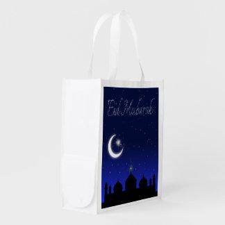 Saludo de Eid Mubarak - bolso reutilizable Bolsas Para La Compra