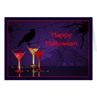 Saludo de encargo de los cócteles de Halloween Tarjetas
