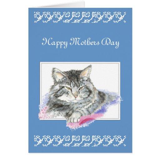 Saludo de encargo, el día de madre, gato, gatito tarjetas