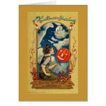 Saludo de Halloween de la bruja de la luna Tarjeta De Felicitación