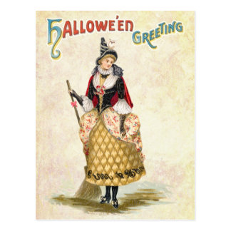 Saludo de Halloween de la bruja de lujo Postal
