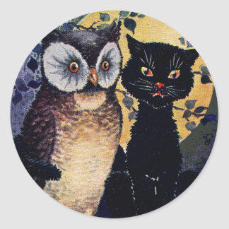 Saludo de Halloween del búho y del gato del Pegatina Redonda