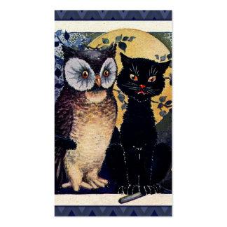 Saludo de Halloween del búho y del gato del vintag Tarjetas Personales