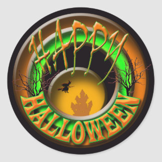 Saludo de Halloween del castillo de las brujas Pegatina Redonda