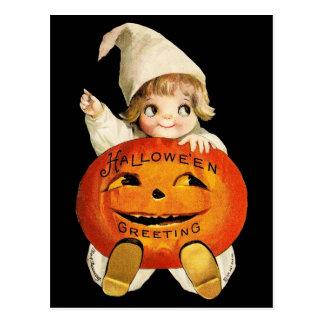 Saludo de Halloween del vintage con la niña Tarjetas Postales