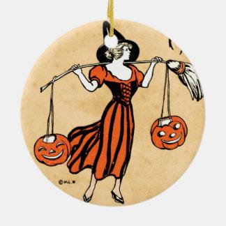 Saludo de Halloween del vintage Adorno Redondo De Cerámica