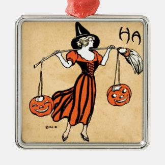 Saludo de Halloween del vintage Adorno Cuadrado Plateado