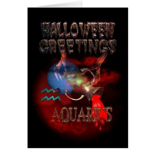 Saludo de Halloween del zodiaco del acuario Felicitación