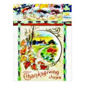 Saludo de la acción de gracias con scenary postales