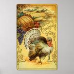 Saludo de la acción de gracias con una Turquía Poster
