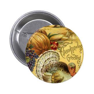 Saludo de la acción de gracias con una Turquía Pins