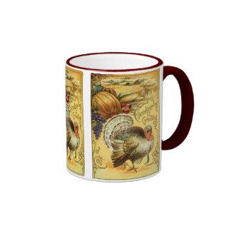 Saludo de la acción de gracias con una Turquía Tazas De Café
