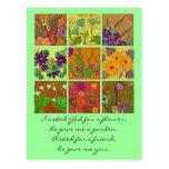 saludo de la amistad del jardín de flores postales
