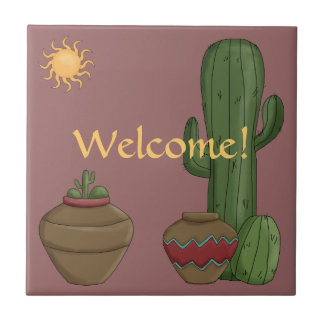 Saludo de la cálida bienvenida del desierto - sudo azulejo cuadrado pequeño