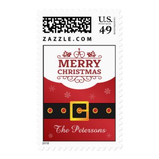 Saludo de la familia de las Felices Navidad de la Sello Postal
