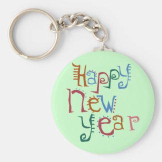 Saludo de la Feliz Año Nuevo Llavero Redondo Tipo Pin