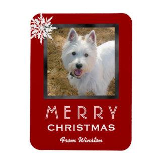 Saludo de la foto del navidad del perro/del imanes flexibles