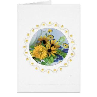 Saludo de la frontera del bordado con las flores tarjeta de felicitación