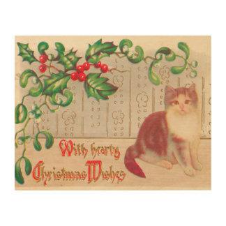 Saludo de la Navidad del vintage con el gatito Cuadros De Madera