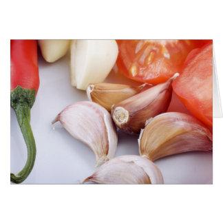 Saludo de la pimienta del ajo y de chile tarjeta de felicitación