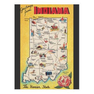 Saludo de la postal del vintage de Indiana